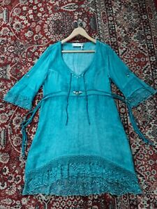 ELISA CAVALETTI DRESS TUNIC L 38 INCH / 98 CM CHEST TURQUOISE EXCELLENT