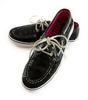 Sperry Top Sider Bahama Boat Shoe Girl Size 3.5 Black Sequin Silver Leather Lace
