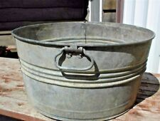 "VINTAGE GALVANIZED 21"" TUB #2 MISSING ONE HANDLE"