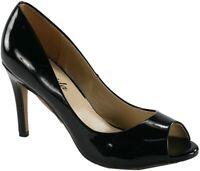 Atrevida Women's Tabina-01 Patent Leather Peep Toe Pumps, Black Patent, 9 B(M) U