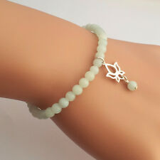 Sterling Silver Lotus & Amazonite Gemstone Beaded Bracelet Handmade in U.K