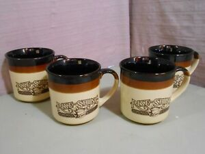 4 Hardees Rise and Shine Homemade Biscuits Coffee Cups Mugs 1986