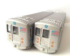 "Set of 2 New York City MTA Metro subway rail train diecast model pullback go 7"""