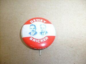 Vintage Dewey Bricker 1944 Button back Pin  (1972) President Political metal