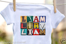 LIAM Baby Bodysuit in Sign Letter Photos - 100% Cotton & Short Sleeve