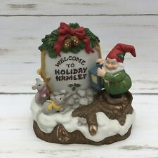 1993 Fitz and Floyd Holiday Hamlet Enchanted Forest Village Sign Figurine