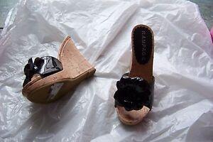 womens rampage dyana black patent flower cork wedge heels shoes size 5 1/2