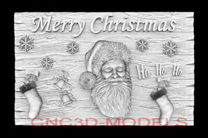 3D Model STL for CNC Happy New Year Aspire Merry Christmas Santa Claus D750