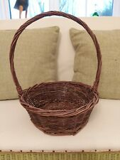 Vintage  Small Dark coloured Wicker Display Basket  with handle.