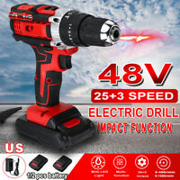 48V 28N.m Power Electric Impact Drill Cordless LED Light Screwdriver W/ Battery