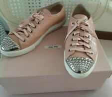 MIU MIU Pink Blush Patent Leather Studded Toe Cap Sneakers 37.5 EU