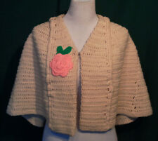 Vintage Cream Hand Crocheted Cape with Pink Rose Small