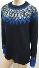 BRORA Navy Blue Mohair Patterned Round Neck & Cuffs Jumper Sweater Top UK14
