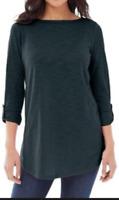NEW J. JILL L XL Knit Tunic Button Back 3/4 Tab-Sleeve Top Cotton/Mdl Navy Blue