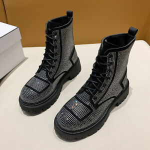 New Womens Rhinestone Decor Leather Lace Up Cuban Heel Combat Casual Ankle Boots