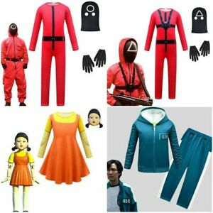 Kids Boys Girls Squid Game Jumpsuit Party Cosplay Costume Fancy Dress Outfit UK