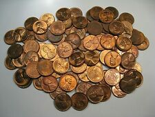 100+ (2 Rolls) BU/UNC Red/Red-Brown Lincoln Wheat Pennies Mostly 1950's.  #23