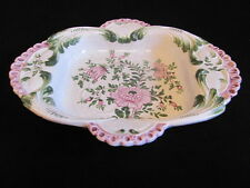 Italy Bassano pottery dish bowl white mauve green hand painted floral Deruta
