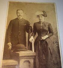 Antique Victorian Canadian Fashion Couple Umbrella & Big Book! Ontario CDV Photo