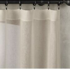 "Restoration Hardware Sheer Belgian 100% Linen Drapery, Fog-50x108"" Rod Pocket"