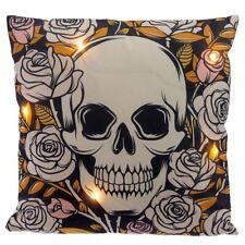 LED Zierkissen Totenkopf und Rosen | Dekokissen Skull Totenschädel H 38 cm
