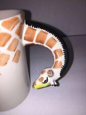 "Pier 1 Imports Giraffe Mug 3D Handle Large Coffee Cup Safari Stoneware 5"" Tall"
