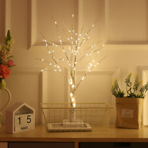 Lighted Birch Tree LED Light Warm White Jewelry Table Night Lamp Centerpiece