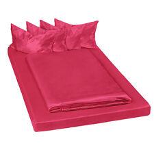 Juego ropa de cama satinada poliéster sábana bajera edredón funda 200x150 rojo