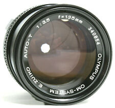 Olympus OM E-Zuiko Auto T 135mm F3.5 Prime Lens with Case Caps UK Fast post