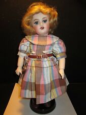 "Reproduction Bleuette 11"" Doll w Curly Blonde Hair, GB Brand Plaid Dress & More"