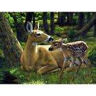 Full 5D Drill Diamond Mosaic Painting Sika Deer Mother And Son Cross-Stitch