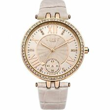 Lipsy Ladies Nude Faux Leather Strap Crystal Set Rose Gold Watch LP294 XMAS GIFT