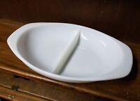 Pyrex White #1063 Divided Glass Serving Dish 1.5 Qt Baking Dish