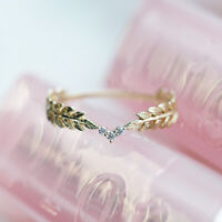 14K Gold Small Fresh Style Spring Leaves Feather Ring Stack Wearing Tail Ring