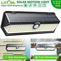 Litom 122 LED Solar Wall Light IP65 Motion Sensor Outdoor Garden Security Lamp