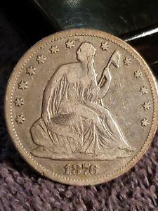 1876-CC SEATED LIBERTY HALF DOllAR VF