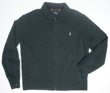 NEW MENS POLO RALPH LAUREN BLACK POPLIN FLANNEL LINED WINDBREAKER JACKET SIZE LT