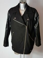 WAREHOUSE WOMENS BLACK FAUX LEATHER WOOL COAT JACKET SIZE UK 10 EU 38
