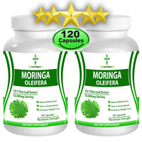 120 Capsules Moringa Oleifera Leaf Powder Weight Loss Multivitamin 500mg Organic