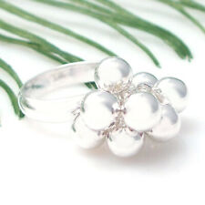 Cute Moveable 9 Cluster Beads .925 Silver Ring-6.5
