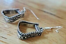 d4b702cc16018 Sterling Silver Horse Western Decorated 13x11mm Stirrup Earrings on 15mm  Wires!