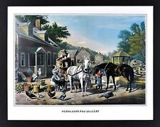 Currier & Ives Print - Preparing for Market - Farm Scene Animals Vintage Reprint
