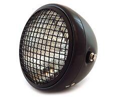 "7"" Side Mount Motorcycle Headlight w/ Grill - Matte Black - Gloss Black - Clear"