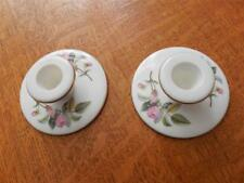 Wedgwood Hathaway Rose bone china pair banquet candlesticks black mark
