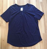 JMS 1X 16W Just My Size Navy Blue Knit Top Shirt SS Scoop Neck NWT