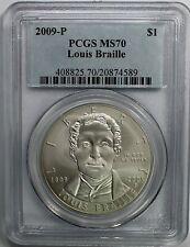2009 P Louis Braille Silver Dollar Commemorative PCGS MS-70