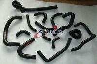 Nissan Skyline GTR R33 R34 RB26DET Silicone Radiator Heater Hose Kit Black