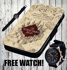 Marauders Map Hogwarts Harry Potter Wizard Flip Wallet Leather Phone Case Cover