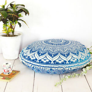 Indian Blue Ombre Throw Cover Decorative Floor Pillow Case Cushion Cover Mandala