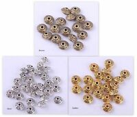 100 Metallperlen Spacer Ufos Rondelle Beads zum Basteln DIY Antik Metall 6.5mm